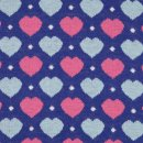 Jacquard Bündchen blau Herzen