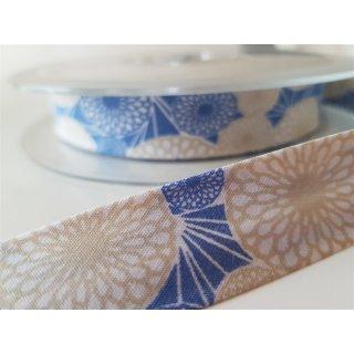Schrägband Blumen Blau