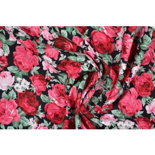 Rosen auf schwarz Popeline