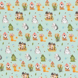 Spring Joy - Igel by Birgit Boley Kombistoff mint
