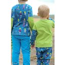 Happy Monsters by Birgit Boley , Monster bunt Jersey petrol