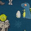 Happy Monsters by Birgit Boley , Monster bunt Jersey petrol