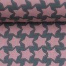 Staaars by farbenmix, beschichtete Baumwolle Sterne, dunkelgrau/rosa