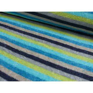 Microfleece Streifen grau - grün